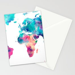 World Map Turquoise Pink Blue Green Stationery Cards