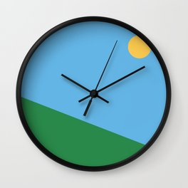 Minimal countryside landscape Wall Clock