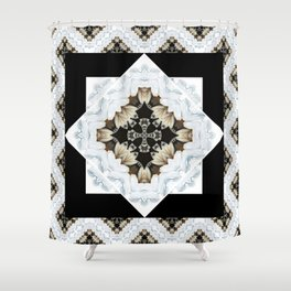 diamond cross pattern with borders Shower Curtain