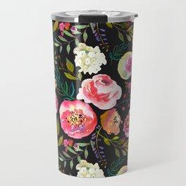 black and pink floral Travel Mug