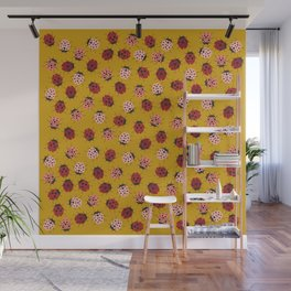 All Over Modern Ladybugs on Mustard Yellow Background Wall Mural