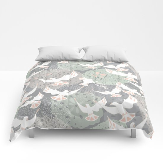 doves and flowers Comforters