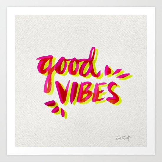 Good Vibes – Pink & Yellow Art Print
