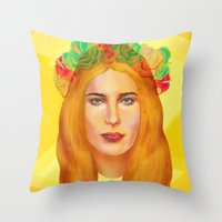hemingway Throw Pillows featuring Dree Hemingway by Alejo Malia