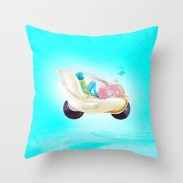 Time Bunny Girl and Art Robo Throw Pillow