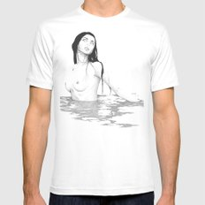 LONELY WATER. White MEDIUM Mens Fitted Tee