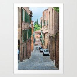Walkway on in old town in Europe Art Print
