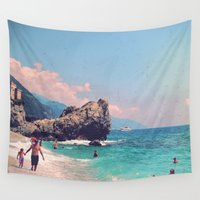 postcard Wall Tapestries featuring Like An Italian Riviera Postcard by ZBOY