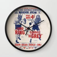lord of the ring Wall Clocks featuring Lord of the Ring by Vó Maria