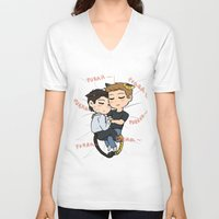 destiel V-neck T-shirts featuring Feline!Destiel by Tsuki-Nekota