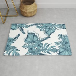 Tropical Palm Leaves Hibiscus Flowers Blue Rug