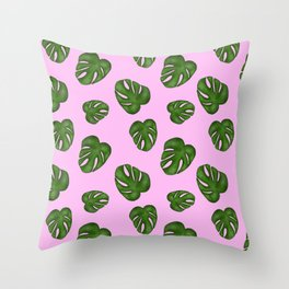 Monstera Leaf-Pink Throw Pillow