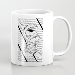 Eye_Mouth_Toungue_Stangulation <L . I . N . E . W . O . R . K> | Black and White | Coffee Mug