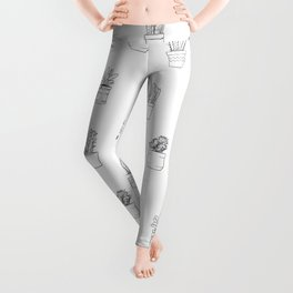 Potted Cactus Pattern Black and White Leggings