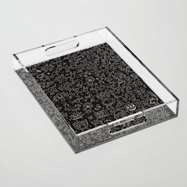 Doodles Homage to Keith Haring Black Acrylic Tray