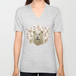 Lambs led by a lion Unisex V-Neck