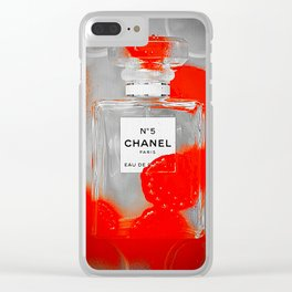 No 5 Red Splash Clear iPhone Case