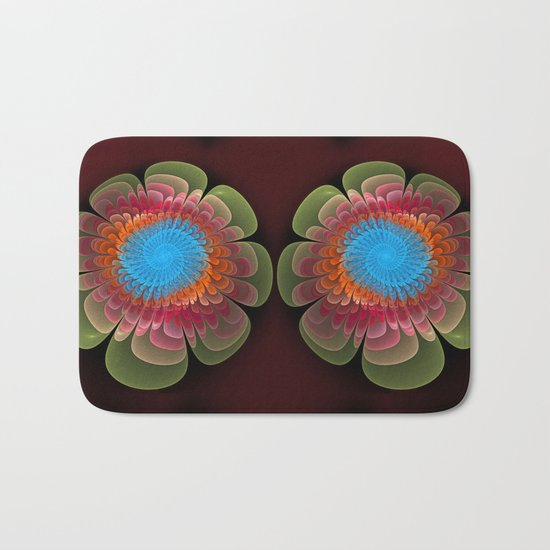 Colourful fantasy flower with a spiral heart Bath Mat