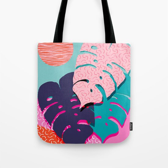 Mega - throwback memphis 1980's 80's 80s style art print bright colorful happy plants nature chic Tote Bag