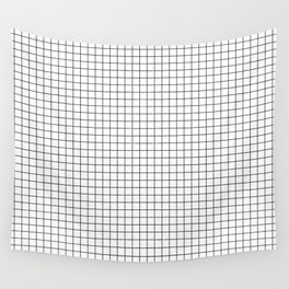 White Grid Black Line Wall Tapestry