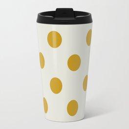 White ad Mustard Polka Travel Mug