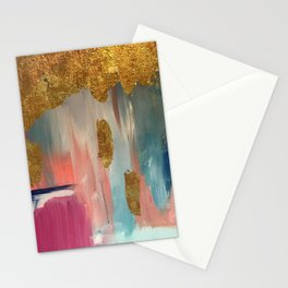 Gold Leaf & Indigo Blue Abstract Stationery Cards