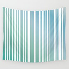 Chalky Pale ocean green stripes Wall Tapestry