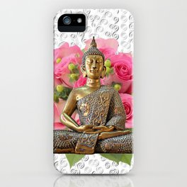 Buddha Rose Silver Mandala iPhone Case