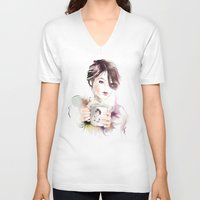 cup V-neck T-shirts featuring cup by tatiana-teni
