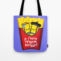french fries Tote Bags featuring French Fries by Kleviee