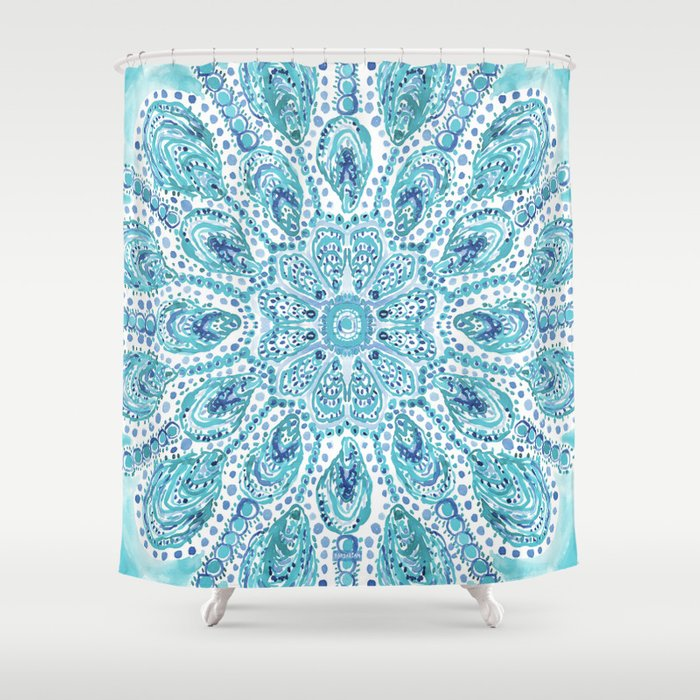 MMMOYSTERS Oyster Mandala Shower Curtain