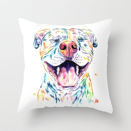 Pit Bull, Pitbull Watercolor Pet Portrait Painting - Tango Throw Pillow