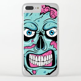 Scary Zombie Face with Rotting and Peeling Flesh Clear iPhone Case