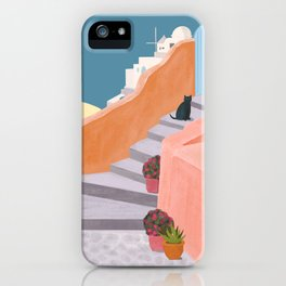 Santorini Pebble Stairs and Houses iPhone Case