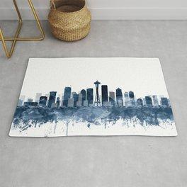 Seattle City Skyline Watercolor Blue by Zouzounio Art Rug