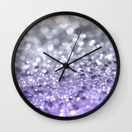 Purple Gray MERMAID Girls Glitter #1 #shiny #decor #art #society6 Wall Clock