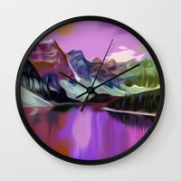 river Wall Clocks featuring River by Asya Solo
