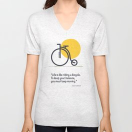 Life is like riding a bicycle Unisex V-Neck