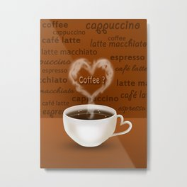 Coffee? Heart Shaped Smoke Metal Print
