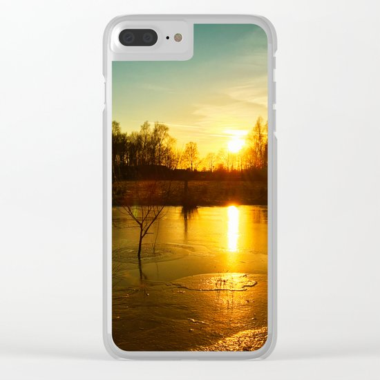 Winterlandscape with sunset Clear iPhone Case