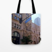 broadway Tote Bags featuring Off Broadway by Jacqueline Obispo