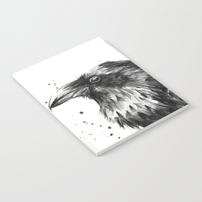 Raven Watercolor Bird Animal Notebook