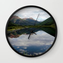 Reflection of the Red Mountains on Crystal Lake Wall Clock