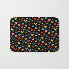 Happy Hearts on Black Bath Mat