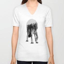 Wolf In The Woods (black & white version) Unisex V-Neck
