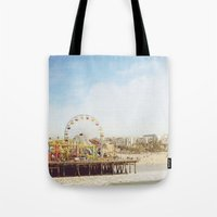santa monica Tote Bags featuring Santa Monica Pier by MillennialBrake