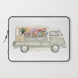 Flower Truck Watercolor Print Mint Laptop Sleeve