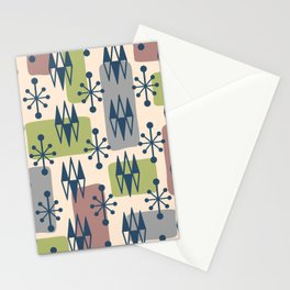Mid Century Modern Abstract Atomic Diamonds 429 Stationery Cards