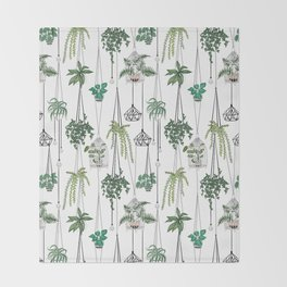 hanging pots pattern Throw Blanket