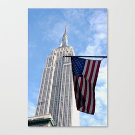 Empire State and American Flag Canvas Print